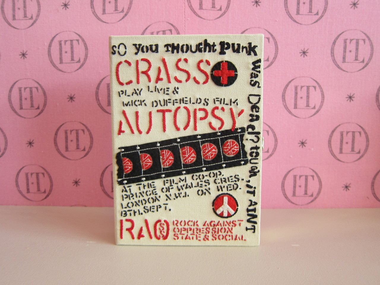 The Crass poster clutch Michelle Williams wore to the Met Ball last night.