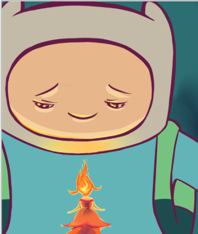 lfigueroaillustration:  WIP of my next Adventure Time piece.I had some pretty bad urges to draw Adventure Time while I was and school, and I never had the opportunity … so this is what you get. I will be fixing Finn's eyes for the final. I'm really good at making my characters not look at the things they're looking at.