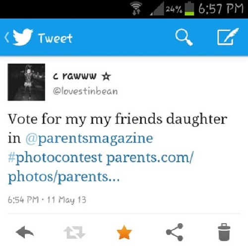 Everybody go to my #twitter @lovestinbean and go vote for @trugemini1990 adorable daughter please vote! vote! vote!