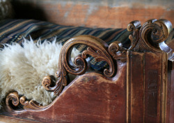 Detail of bed at the folk museum of Norway, by me.