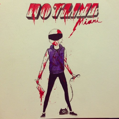 frappleboy:  Another hotline miami piece #art #ink #blood #gore #hotlinemiami #illustration #motorcycle #phone
