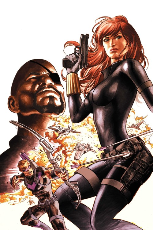 comicbookartwork:  Nick Fury, Black Widow, and Hawkeye