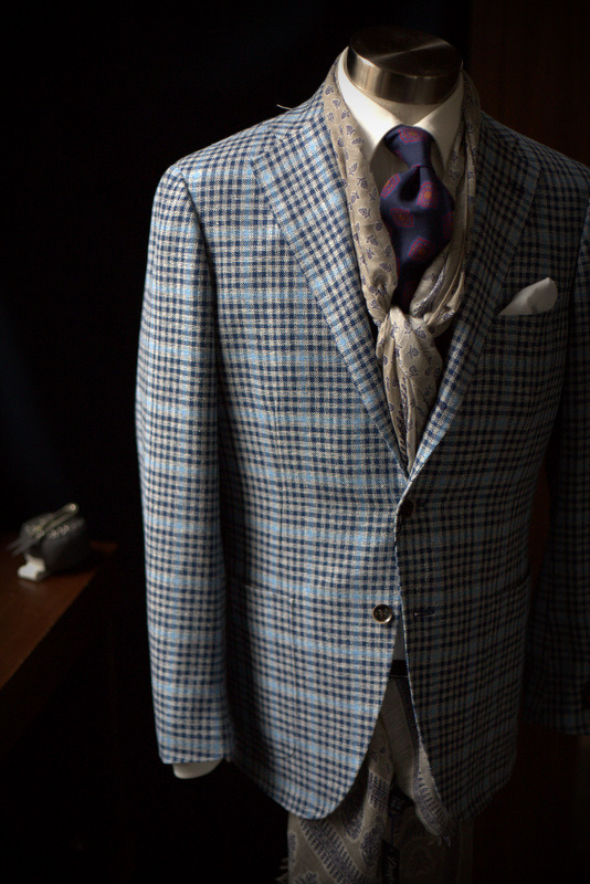 Ring Jacket in Carlo Barbera Fabric - Wool Silk LinenDrake's Summer Scarf