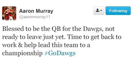 cone-of-uncertainty:    thegameswelove:    He's Staying !    GO DAWGS!     LAWD ALMIGHTY.