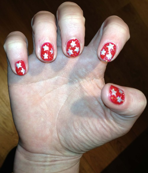 Red with silver stars… Christmas!