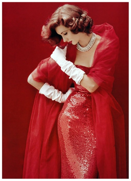 Suzy Parker in Norman Norell, photographed by Milton H. Greene for LIFE, 1952.