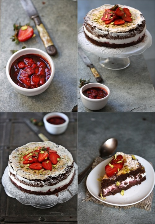 foodfuckery:  Gluten Free Dark Chocolate Strawberry Mascarpone Gateau … deep, dark, delicious & flour-less! Recipe