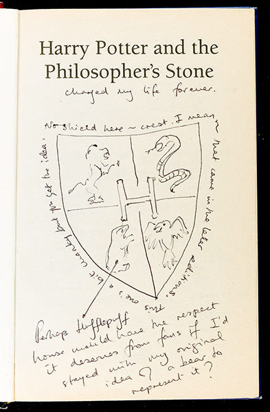 hogwartsradio:  Photos of J.K. Rowling's notes in rare 'Philosopher's Stone' book released The Guardian has published photos of three pages containing a sketch and handwritten notes by J.K. Rowling from a first edition… READ MORE