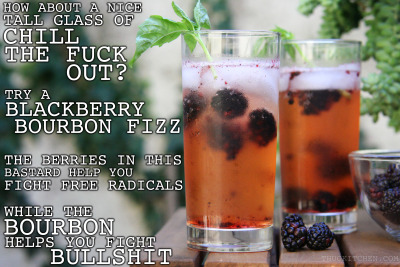 thugkitchen:  You won't be stressing this summer if you're sipping on this tasty glass of general badassery. The antioxidant loaded in theses blackberries will make sure free radicals aren't fucking up your day. And the bourbon? YOU EARNED THAT SHIT.   BLACKBERRY BOURBON FIZZ   5 blackberries 5 ice cubes 1 shot of bourbon ¾ cup cold ginger ale (none of that high fructose corn syrup, aspartame nonsense either. Get good shit that has fucking ginger root as an ingredient) ¼ cup cold club soda  (optional)  Put the blackberries in the bottom of a tall glass and mash them around with a spoon. Keep some big chunks because it looks cool. Add the ice and then the bourbon, ginger ale, and club soda. I like adding club soda because it keeps it tasting refreshing as fuck but you can save some cash and just add more ginger ale. Garnish with fresh basil if you are trying to impress somebody.  Serves 1 but invite a fucking friend, no need to drink alone  We made this for our friend Dara over at Cosmo.com   This sounds delicious!