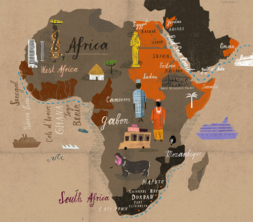 Cruising Around Africa by Martin Haake, from Gestalten's A Map of the World According to Illustrators and Storytellers