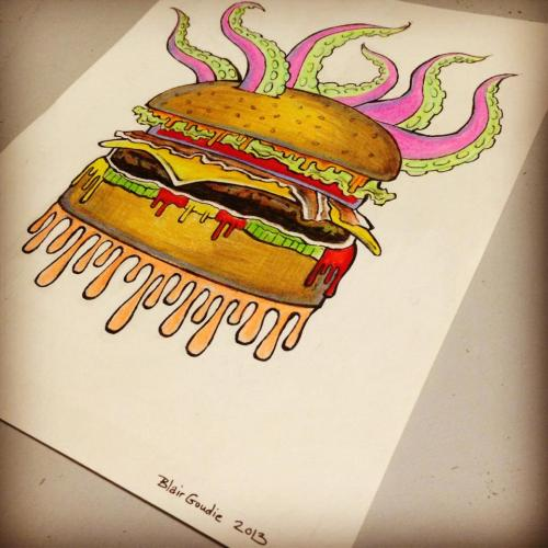 blairgoudie:  burger monster!Prismacolor leads and ink on water color paper