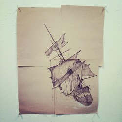 Escaped to studio E and making progress on sinking ships. #art #illustration