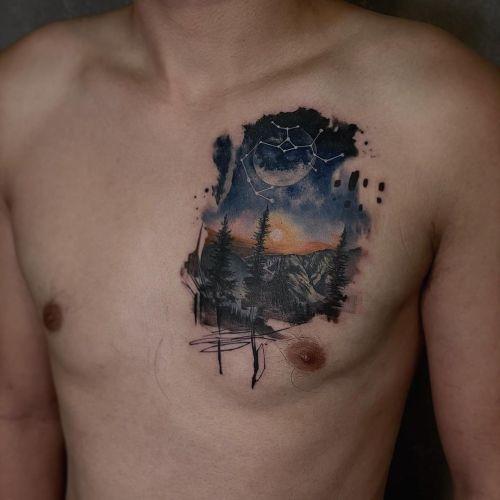 Dexter chest;landscape;moon;splatter;star;tree