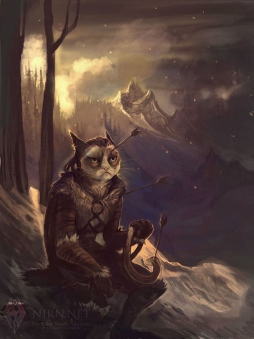 theelderscrollsonline:  Grumpy Cat as a Khajiit, by namisis