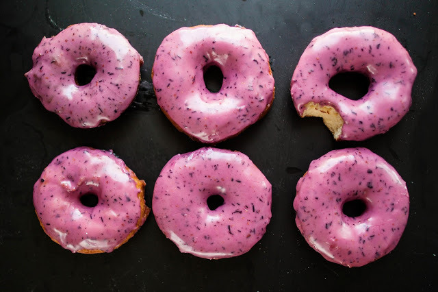 BOURBON BLUEBERRY BASIL DONUTS Someone please make these so I watch you eat them.