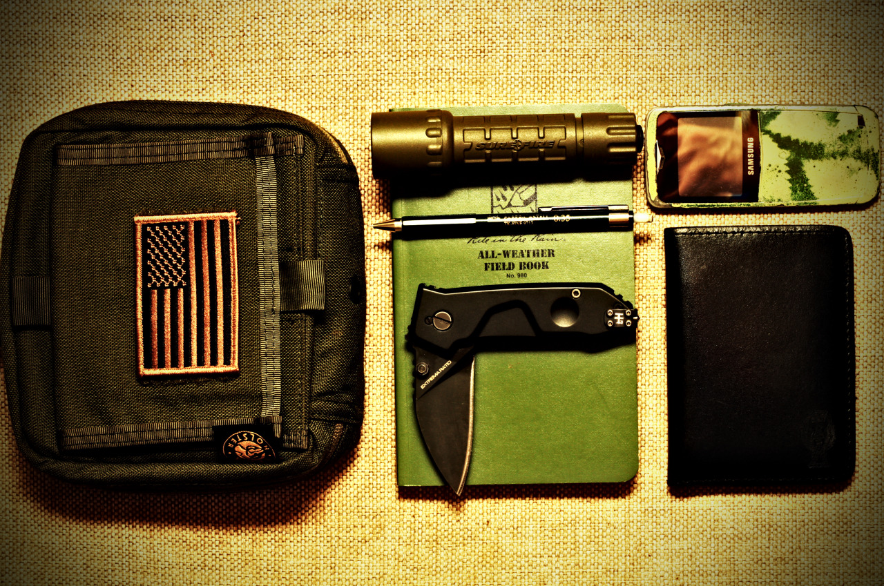 "Tactical Everyday Carry Submitted By: THEMISTIUS   Hi! I have another EDC that i carry on more ""tactical"" occasions, but I won't depict de full content of it, due to some work regulations:) can't show you the ""bang"" guys,sorry!:)   Vega Holster Tactical Pouch( very durable,you can put almost everything in it, but not the FIELD BOOK:(() SUREFIRE G2 NITROLON (4 years and still ""blinding"" bad guys like the first day) Faber Castle Mechanical Pen - Purchase on Amazon All Weather Field Book - Purchase on Amazon EXTREMA RATIO MF0 (i am quite impressed by this knife) Phone - Custom Painted Wallet made by RADAR"