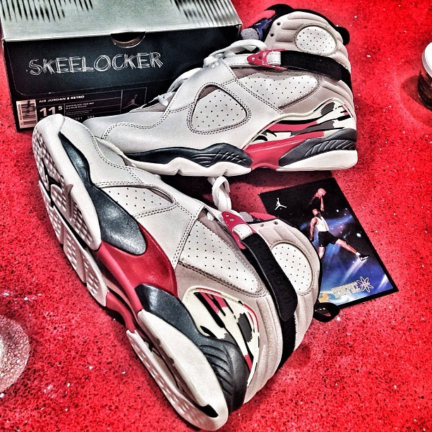 #SkeeLocker 065/365: Air Jordan VIII white/black/red. One of the most underrated Jordan's IMO, love the design, print, and look. If you don't have a pair, Jordan will be re-releasing them later this year