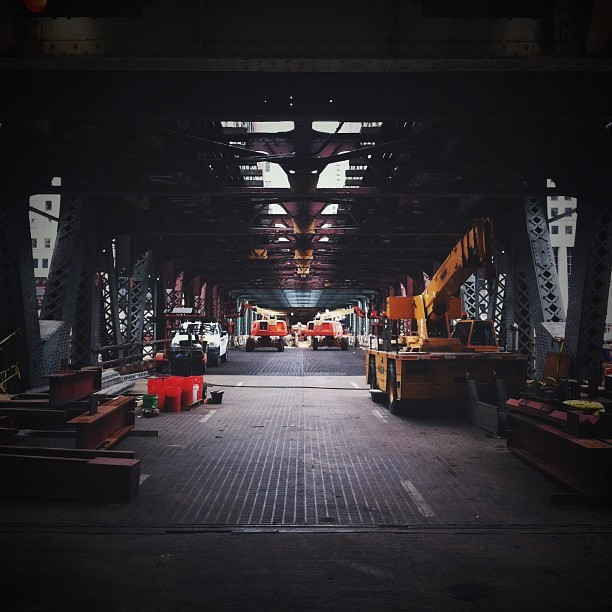 It's been awesome watching the wells st #bridge being worked on over the #chicago #river. I finally got a glimpse of the #construction from #street level. #chitecture