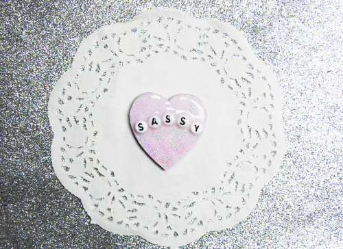 cute Glitter heart etsy sassy lilac Kitsch pin brooch sold cryybaby
