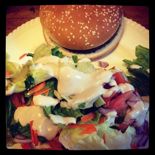 Lazy summer #supper: #bbq-ed veggie burgers and salad covered in #auxvivres Caesar dressing :) #vegan101 #vegansofig #veganfoodshare