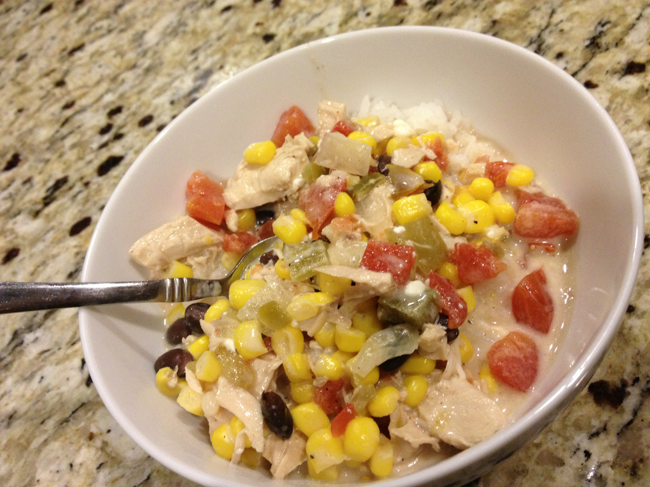 Dinner - White chicken chili with rice