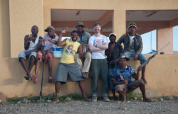 With fishermen at the village of Calhau on Sao Vicente.