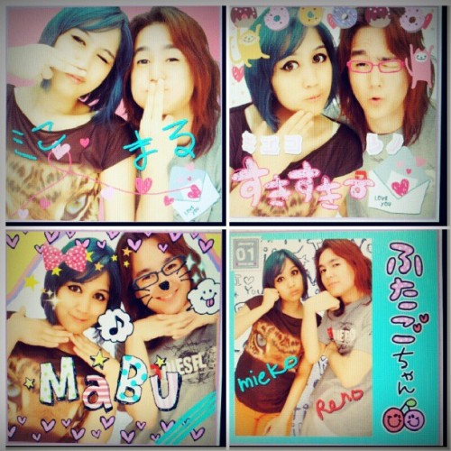 #purikura with #friend #hangout #meetup #happy #fun #hair #turquoise #personal #life #dailylife