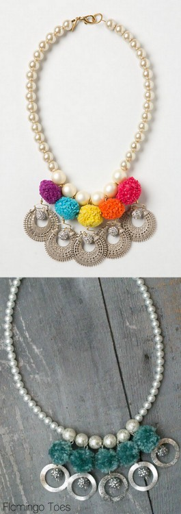 DIY Knockoff Anthropologie Pompearl Neclace Tutorial from Flamingo Toes here. What I like about Bev's tutorials is that she breaks down seemingly complicated jewelry tutorials into steps I can easily follow - including this one. Top Photo: $88 Anthropologie Pompearl Necklace here, Bottom Photo: DIY by Flamingo Toes. For more knockoffs of all types go here: truebluemeandyou.tumblr.com/tagged/knockoff For more of Flamingo Toes knockoff and tutorials go here:  truebluemeandyou.tumblr.com/tagged/flamingo-toes
