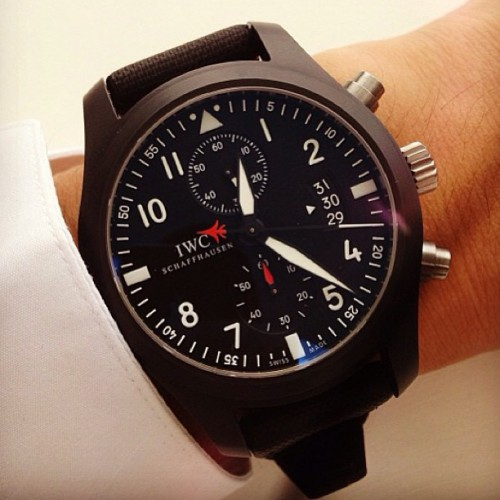 Repost of @mkim0739 #IWC Pilot's #Watch #Chronograph Top Gun - #watch #watchoftheday #timepiece #wristshot #pilots #ceramic #style (hier: IWC Headquarters)