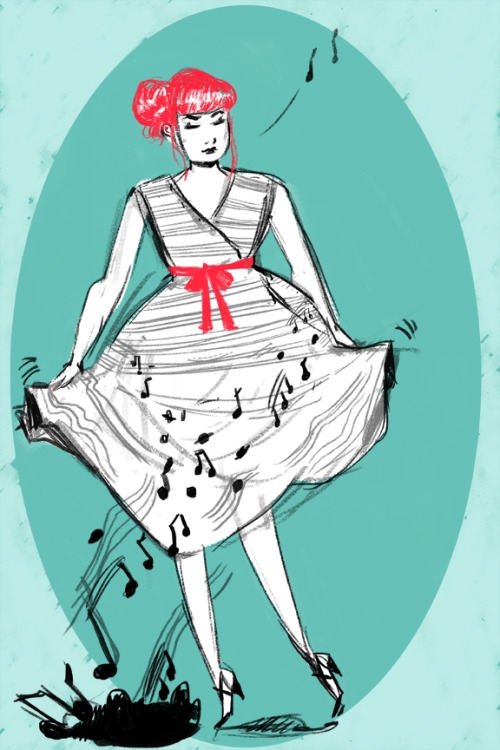 Music dress …Inspiration can be found on ModCloth. sketch on photoshop  ~Nicole
