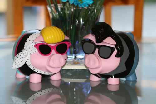 MM and the King! by DollyKnickers on Flickr.Via Flickr: Who loves piggy banks? Do you have a collection of any size?  Would you share photos of such in a group?  I was thinking of starting a group and was hoping for more than just photos of my collection.  You see, I am addicted to them!!  I can't help myself!  When I see one, in thrift stores, not new, and it still has its plug, I got to have it!!  I thought it was time to share this with you.  You can thank me or hate me later… My first to share are Miss Marilyn Monroe Porker and The King Elvis Presley Hoggle.  (I cheated a little with these two because I bought them at Old Navy!  Do you blame me?)