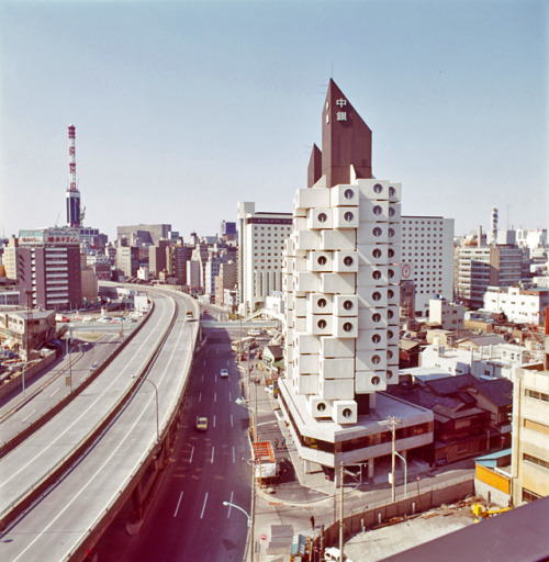 Capsule The Nakagin Capsule tower in Tokyo, designed by Kisho Kurakawa, finished in 1972.
