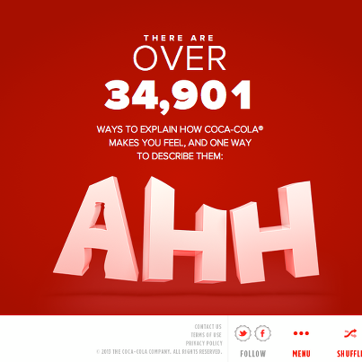 Nouvelle campagne digitale de Coca-cola : 61 expériences / 61 mini-sites  The Ahh Effect - Coca Cola www.ahh.com www.ahhh.com etc.