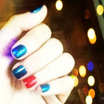 Superman inspired nail polish for this week. ❤💛💙 (at Nails and Beyond)