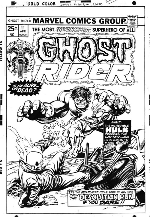 Cover to GHOST RIDER #11 by Gil Kane and Tom Palmer.