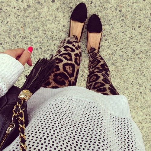 helloparry:  #ootd  in our super soft leopard legging & upcoming Miele mesh white knit 😉 #leopard#legging#mesh#white#knit
