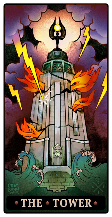 coeykuhn:  Recent tattoo commission from the darling Theresa! Requesting a tower tarot card version of the Bioshock lighthouse <333 was really fun making and right up my alley!
