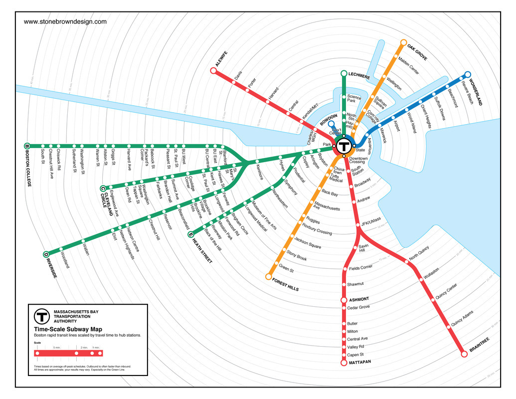 T-Time: Boston Subway Time-Scale Map MBTA subway lines, with stations spaced according to scheduled travel time.