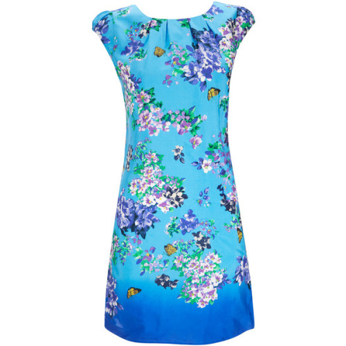Petite Blue Floral Print Dress   ❤ liked on Polyvore (see more floral print dresses)