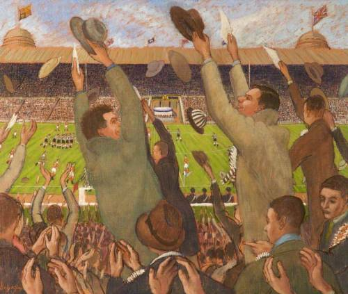 footballarchive:  'Wembley Cup Final 1951' by Henry Cotterill Deykin. Oil on canvas, 1951.Source: BBC