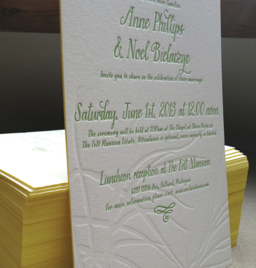 So excited for this latest invite with blind impression AND edge painting!!!