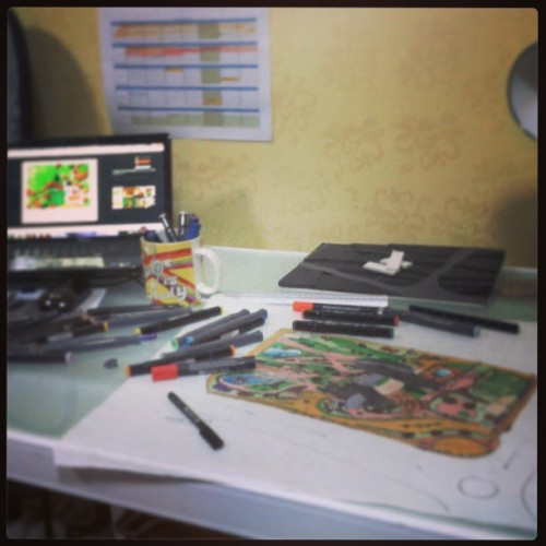 Working #studying #working #graduation_project2 #graduation #design #model #site_plan #sketch #markers #laptop #colors #colorfull #recreation_center