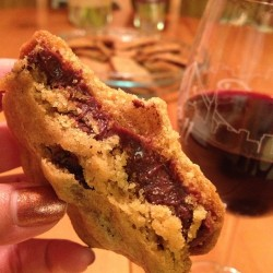 To top it off? Made ganache stuffed chocolate chip cookies. With some red red wine? Ohhh, I feel fine 😉 #hitthespot