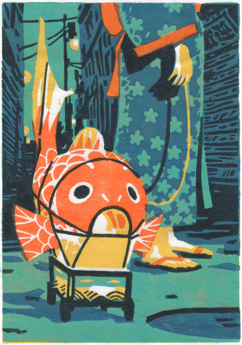atelier-sento:  The Fish Lantern5 layers linocut - hand printedThe 1000 Lights Festival takes place in Niigata's old district. Children take fish lanterns for a walk, in the old-fashioned shopping street which looks like a river. ☆☆☆ Our online shop is open! ☆☆☆ Atelier Sento on Etsy: http://etsy.com/shop/AtelierSentoHandmade linocut prints & photographies - portraits of a dreamlike Japan. Feel free to mail us if you have any question : ateliersento@gmail.com