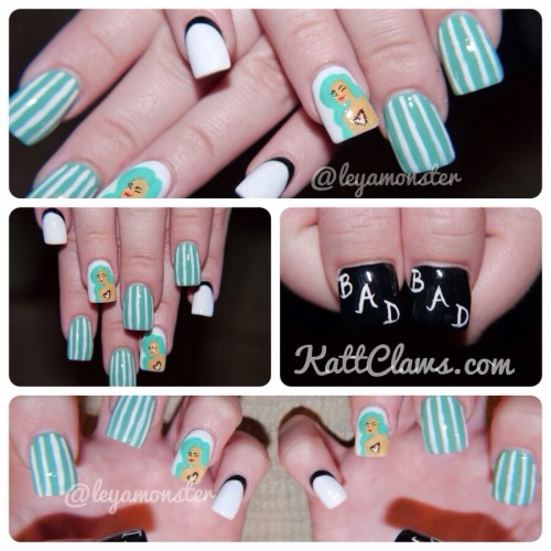 "kattclaws:  Custom set of Wale - ""Bad"" nails for a sweet little lady! Facebook: KattClawsIG: @leyamonster/@kattclawsStore: KattClaws.Bigcartel.ComTwitter: @Katt_Claws"