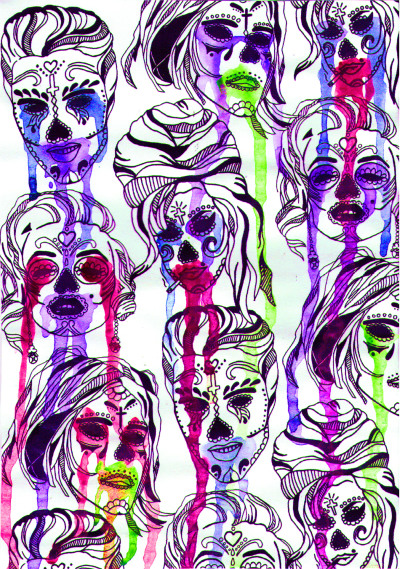 bettysclothinguk:  Voodoo faces celebrity, sugar skulls, ink and pen. hand drawn.  www.facebook.com/bettysclothinguk