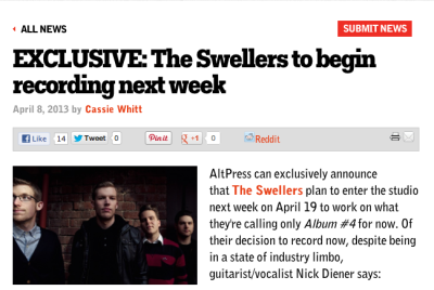 Click the picture and head to ALTERNATIVE PRESS to read the good news! ALBUM #4 BEGINS ON APRIL 19th! http://www.altpress.com/news/entry/exclusive_the_swellers_to_begin_recording_next_week