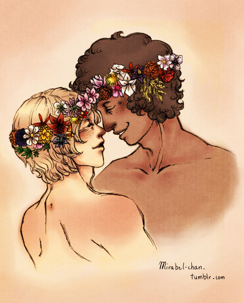 mirabel-chan:  Since the idea of flower crowns with meaning wouldn't leave me alone, I had to do these two too :D And peach blossoms where their crowns are touching, wow I'm such a sap :DD