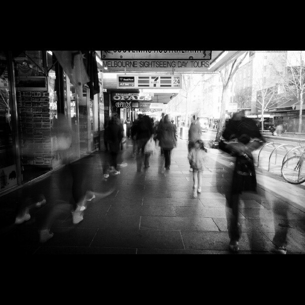 Ghostly visions. #streetlife #streetphotography #cbd #silverefexpro #sigmawideangle #wideangle #sigma #bw #bwphotography #blackandwhite #blackandwhitephotography #monochrome #longexposurephotography #longexposure #swanstonstreet #melbourne #victoria #australia  (at Paul Sadler Swimland)
