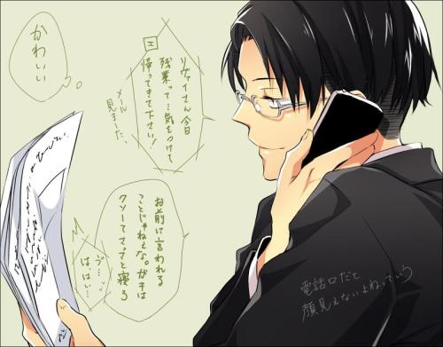 Eren: Since Rivaille-san working past time today……please do take care on your way home! (I've got your mail) Rivaille: Its not your turn to say this yet, kids should go to bed early Eren: Errr…O-Okay… Rivaille: (so cute) [something like If its chatting on the phone then the expression wouldn't be seen right] art by @ももあん english translated from chinese translation by piepie水/shuyan_空空子